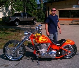 Flame Red Motorcycle in Myrtle Beach, SC